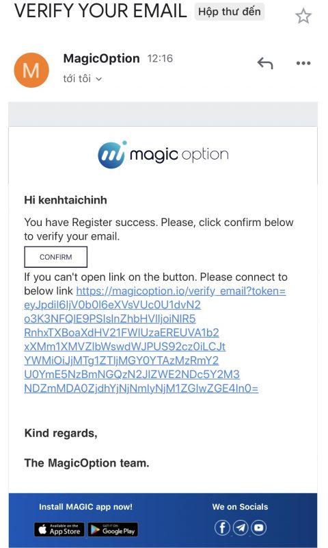 Kích hoạt tài khoản Magic Option