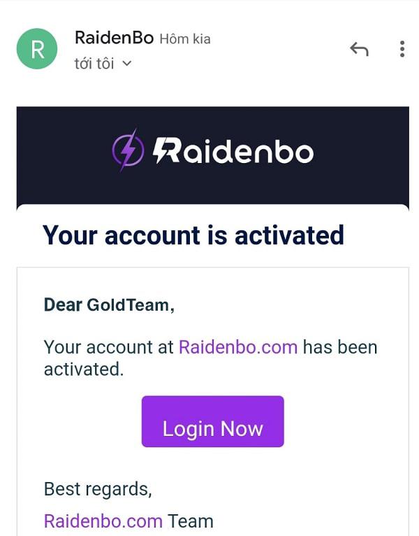 Email xác nhận raidenbo