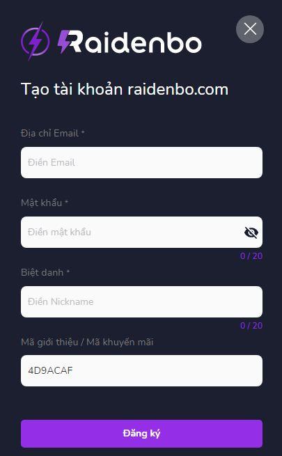 Hướng dẫn đăng ký raidenbo